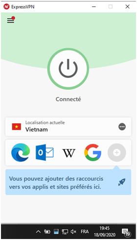 Description de l'interface Express VPN
