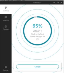 Description de l'interface SurfShark