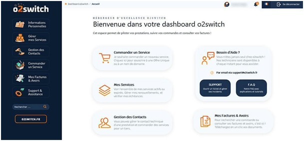 Tester l'interface d'administration o2 Switch .
